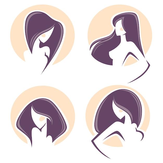 Piękna kobieta z długimi włosami, emblematy wektorowe i logo Premium Wektorów
