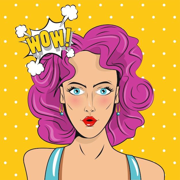 Piękna Kobieta Z Różowymi Włosami I Plakatem W Stylu Pop-art Wyrażenia Wow. Premium Wektorów