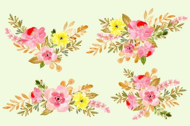 Piękna kolekcja akwarela kwiatów układ Premium Wektorów
