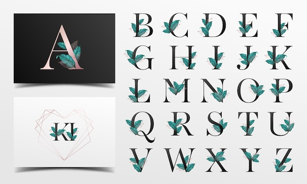Piękna Kolekcja Alfabetu Z Dekoracją Liści Akwarela Darmowych Wektorów
