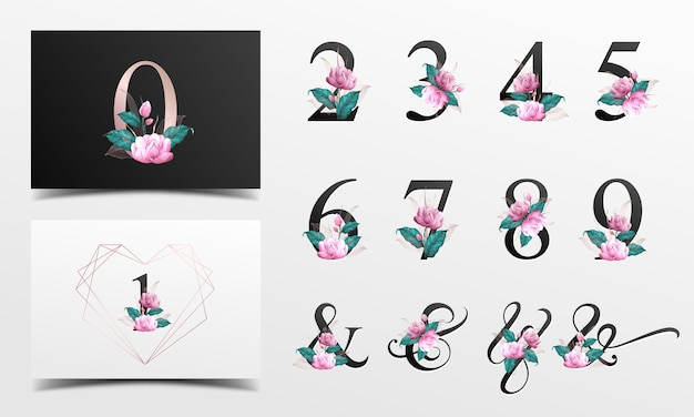 Piękna Kolekcja Liczb Alfabetu Ozdobiona Różowym Kwiatem Malowanym Akwarelą. Premium Wektorów