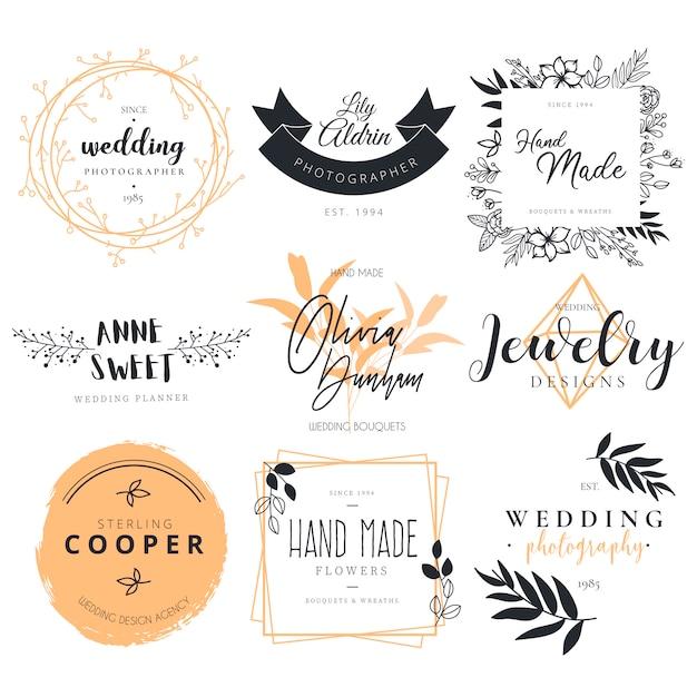 Piękna kolekcja logotypów do fotografii ślubnej, dekoracji i terminarza Darmowych Wektorów