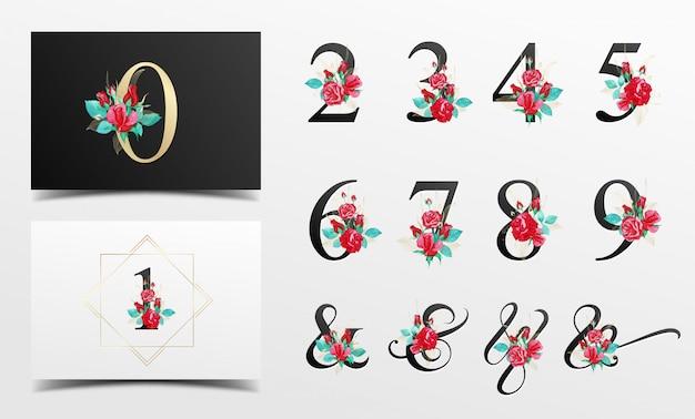 Piękna kolekcja numer alfabetu z czerwoną akwarelą kwiatową dekoracją Premium Wektorów