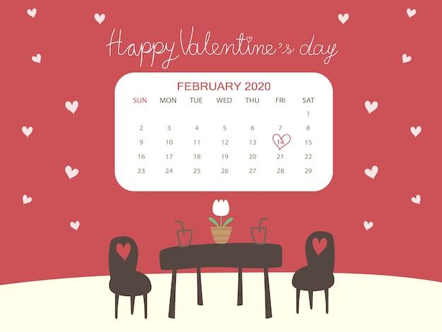 Piękna Koncepcja Kalendarza Walentynki W Kawiarni Motyw Z Miłośnikami I Białym Sercem Premium Wektorów