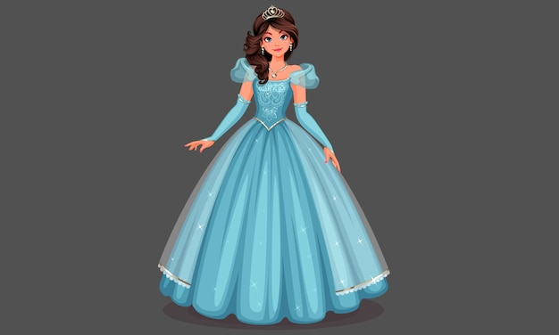 Piękna Księżniczka W Niebieskiej Sukience Premium Wektorów