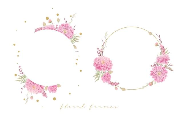 Piękna Kwiecista Ramka Z Akwarelowymi Kwiatami Dalii Darmowych Wektorów