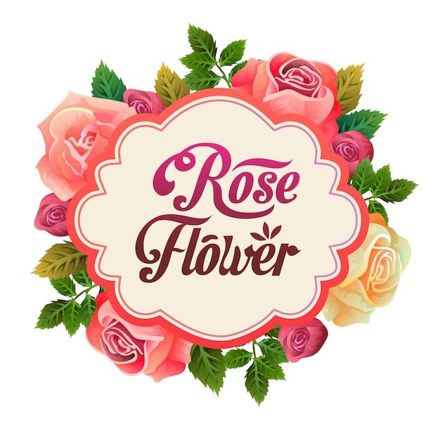 Piękna Kwiecista Różana Kwiatu Przygotowania Ilustracja Darmowych Wektorów