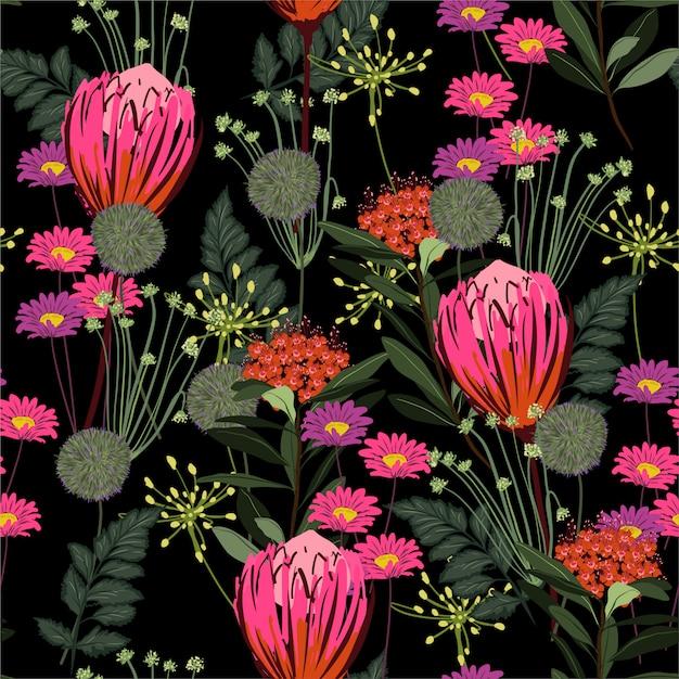 Piękna Kwitnąca Noc W Ogrodzie Z Różnego Rodzaju Kwiatami Protea I łąkami Kwiatowy Kolorowy Wzór Wektor, Projektowanie Mody, Tkaniny, Tapety, Zawijanie I Wszelkiego Rodzaju Nadruki Premium Wektorów