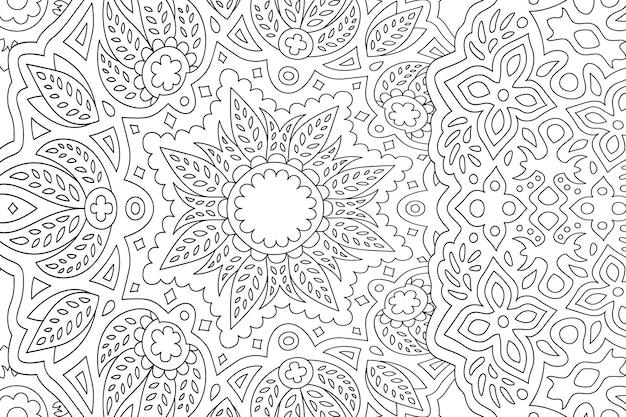 Piękna Liniowa Ilustracja Monochromatyczna Dla Dorosłych Kolorowanka Z Kwiatowym Premium Wektorów
