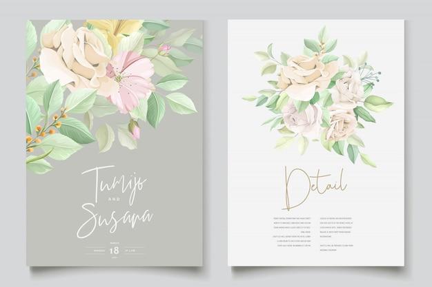 Piękna Miękka Karta Zaproszenie Na ślub Kwiatowy I Liści Darmowych Wektorów