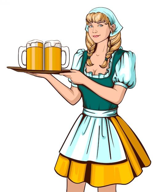 Piękna młoda kobieta kelner gospodarstwa taca z piwem Premium Wektorów