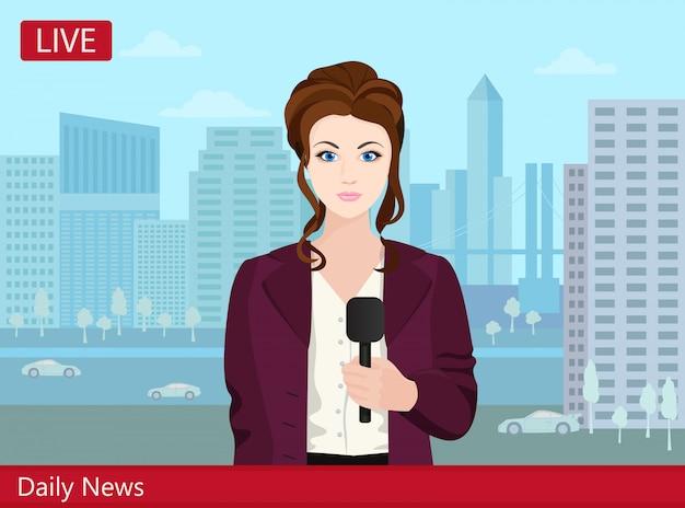 Piękna młoda kobieta reporter wiadomości telewizyjnych na ulicy. Premium Wektorów
