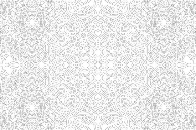 Piękna Monochromatyczna Ilustracja Dla Dorosłych Kolorowanka Z Abstrakcyjnymi Liniowymi Szczegółowymi Kształtami Serca Premium Wektorów