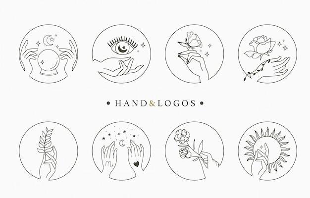 Piękna Okultystyczna Kolekcja Logo Z Ręką, Geometryczną, Kryształową, Księżycową, Oko, Gwiazdą. Ilustracja Ikony, Logo, Naklejki, Do Druku I Tatuażu Premium Wektorów