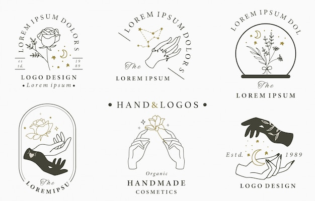 Piękna Okultystyczna Kolekcja Logo Z Ręką, Geometryczną, Kryształową, Księżycową, Różaną. Ilustracja Ikony, Logo, Naklejki, Do Druku I Tatuażu Premium Wektorów