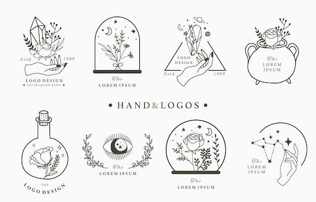 Piękna Okultystyczna Kolekcja Logo Z Ręką, Geometryczny, Kryształowy, Księżycowy, Oko, Gwiazdkowy. Premium Wektorów