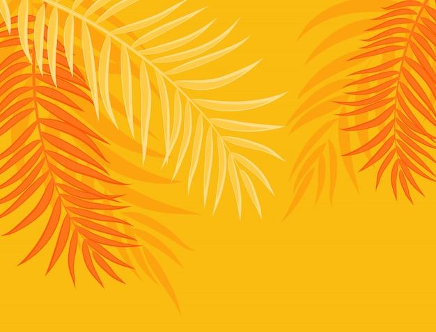 Piękna palma liść sylwetka tło wektor ilustracja Premium Wektorów