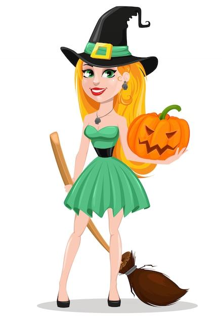 Piękna pani czarownica w kapeluszu pielgrzyma Premium Wektorów