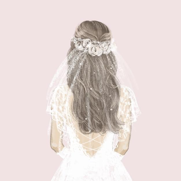 Piękna Panna Młoda W Białej Sukni. Ręcznie Rysowane Ilustracji. Premium Wektorów
