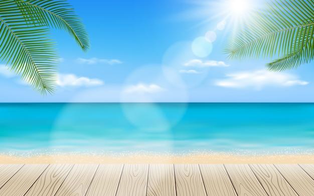 Piękna plaża z drewnianymi stołowymi elementami Premium Wektorów