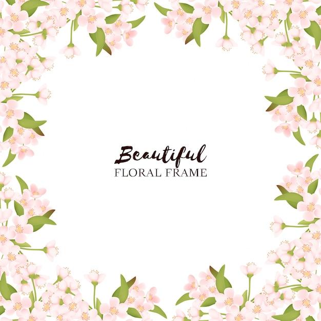 Piękna Rama Kwiat Wiśni Premium Wektorów