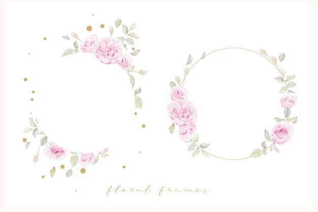 Piękna Rama Kwiatowy Z Kwiatem Róż Akwarela Darmowych Wektorów