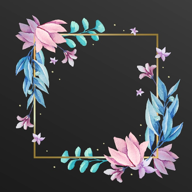 Piękna Rama Z Zimowymi Kwiatami Darmowych Wektorów