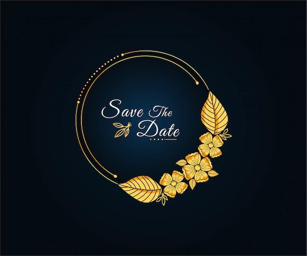 Piękna rama ze złotymi kwiatami Premium Wektorów