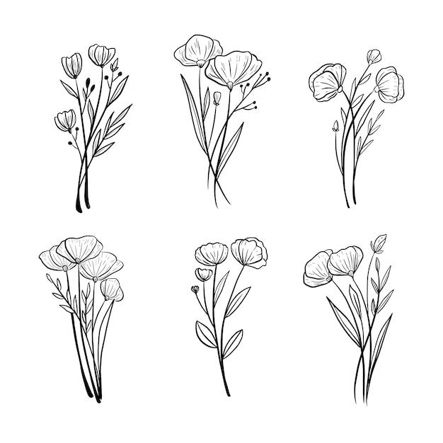 Piękna Ręka Rysunek Kwiat ślub Liści Ornament Zestaw Kolekcja Premium Wektorów