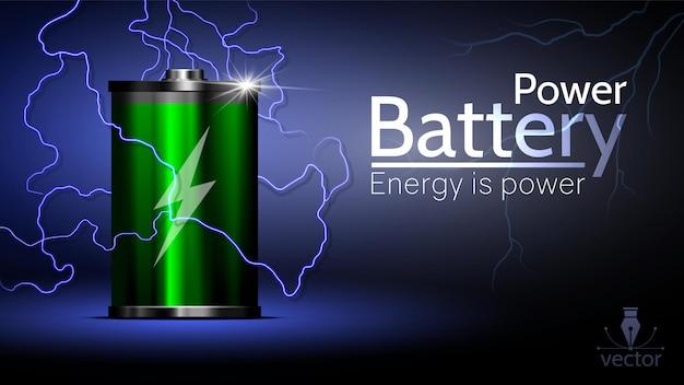Piękna reklamowa zielona bateria z błyskawicą dookoła. Premium Wektorów