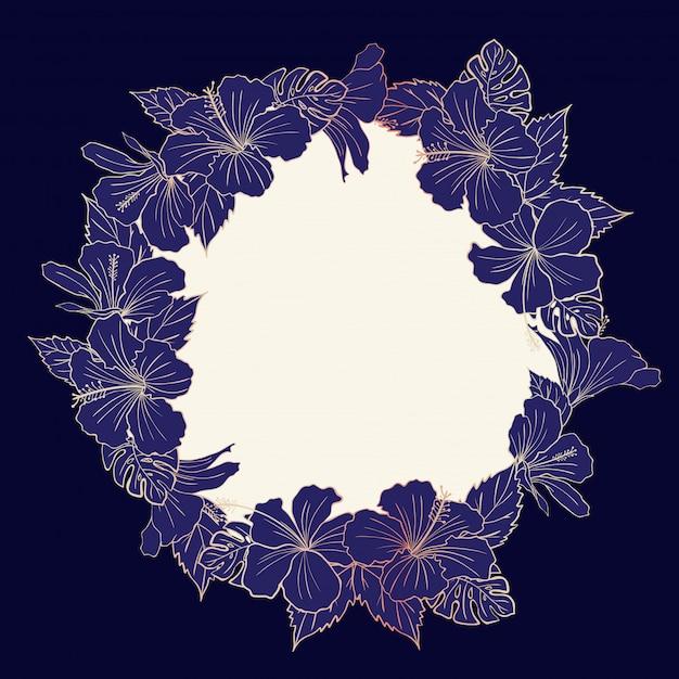 Piękna róża kwiatowy hibiskus złota rama Premium Wektorów