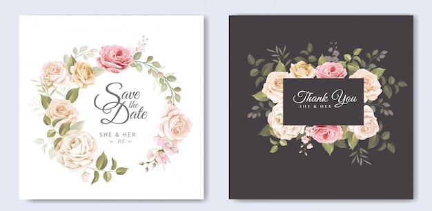 Piękna ślubna karta z kwiecistym i liści szablonem Premium Wektorów