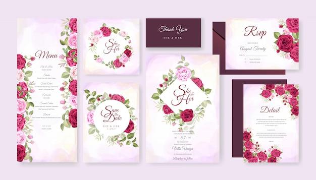 Piękna ślubna karta z kwiecistym i liści szablonu tłem Premium Wektorów