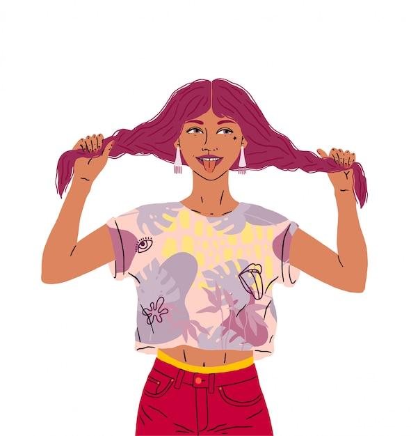 Piękna Szczęśliwa Dziewczyna Pokazuje Język. Zabawna Kobieta W Dobrym Nastroju Trzyma Włosy, Dwie Warkocze. Jasne Kolory, Ilustracja Na Białym Tle Premium Wektorów