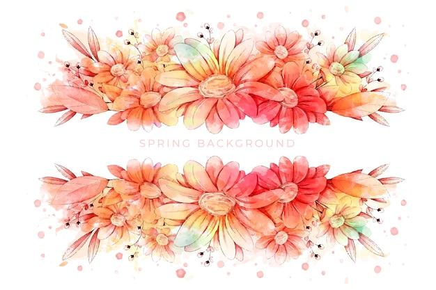 Piękna Tapeta Akwarela Wiosna Darmowych Wektorów