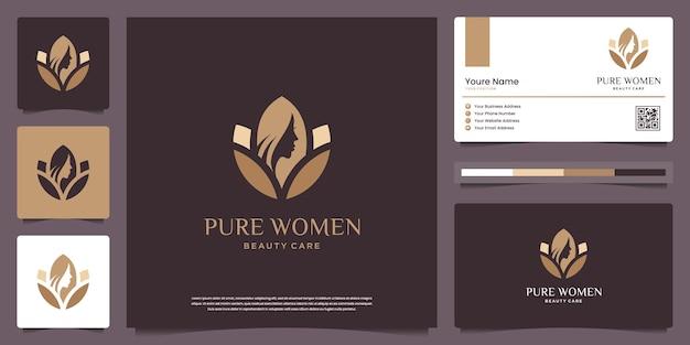 Piękna Twarz Kobiety I Kwiat Lotosu. Logo Może Być Używane Do Spa, Urody, Salonu, Skóry I Wizytówki Premium Wektorów