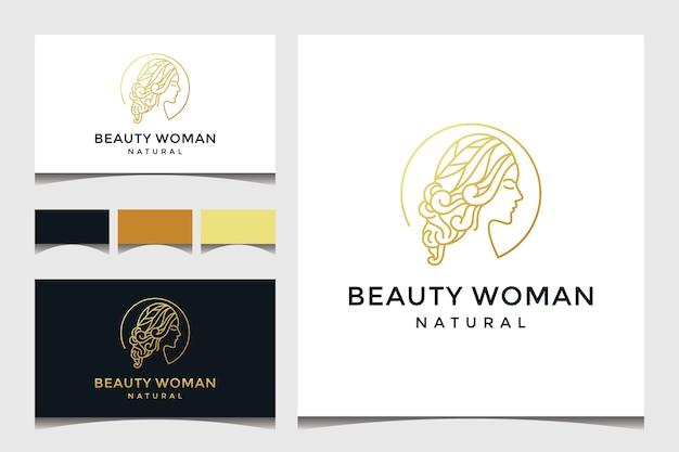 Piękna Twarz Kobiety Z Logo Stylu Sztuki Linii Premium Wektorów