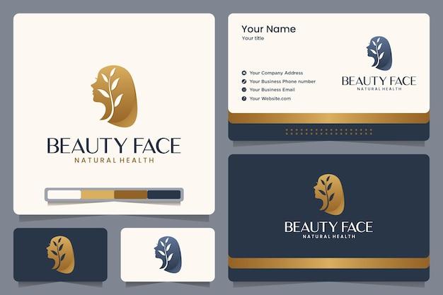 Piękna Twarz, Natura, Dziewczyna, Liście, Złoty Kolor, Projekt Logo I Wizytówka Premium Wektorów