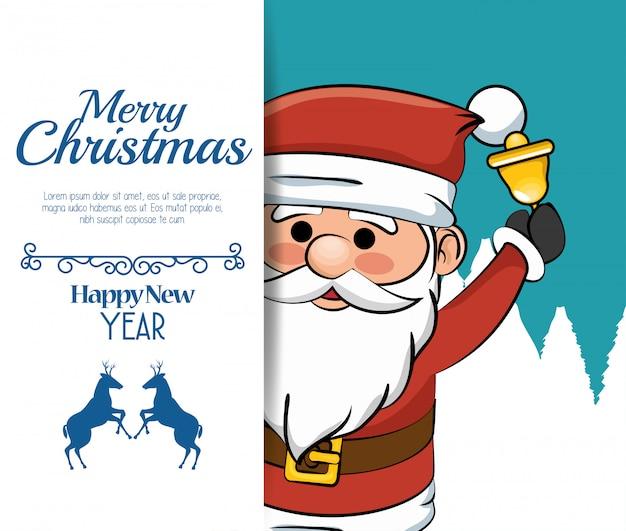 Piękna wesołych świąt kartka świąteczna santa bell Darmowych Wektorów