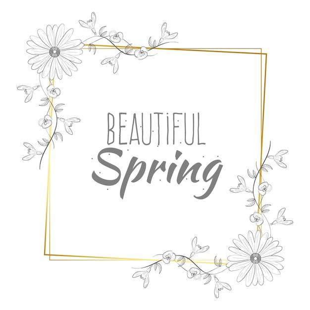 Piękna Wiosna Napis Na Złotej Ramie Darmowych Wektorów