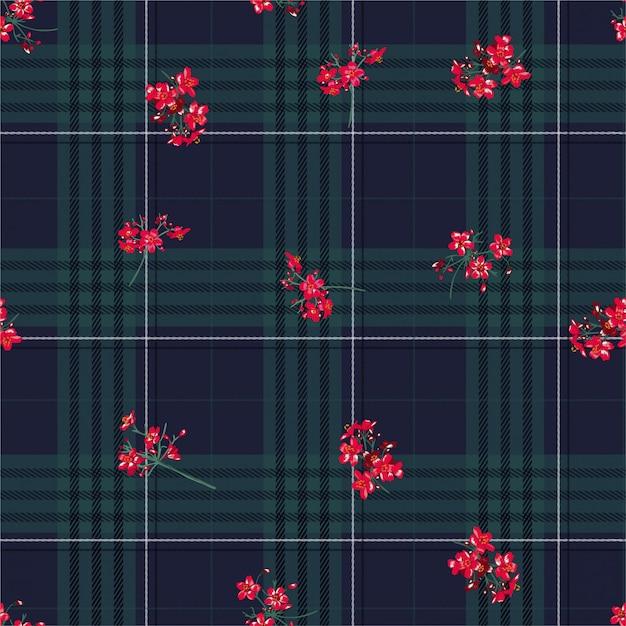 Piękna Zimowa Czarna Warstwa Tartanu Do Mycia Na Czerwonym Kwiatku Bezszwowym Wzorze W Wektorze, Projektowaniu Mody, Tkanin, Tapet I Wszystkich Wydruków Premium Wektorów