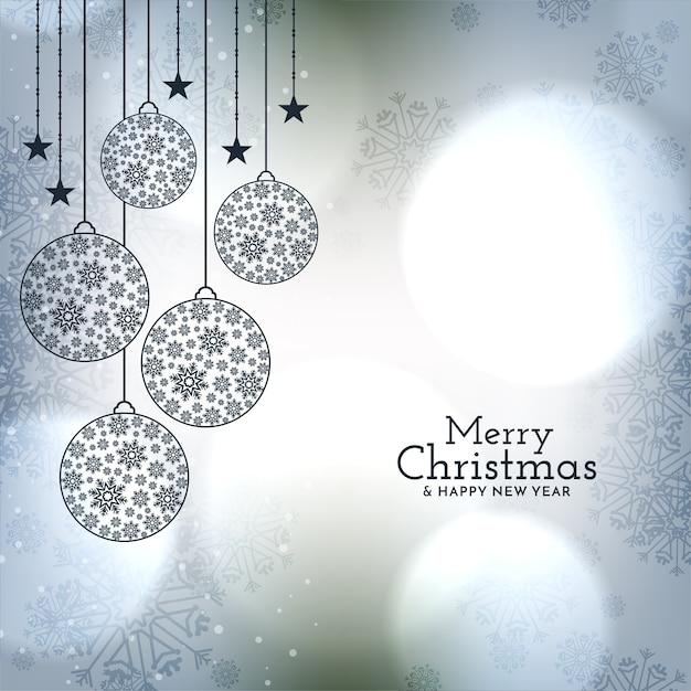 Piękne Bombki Na Błyszczącym Tle Merry Christmas Darmowych Wektorów