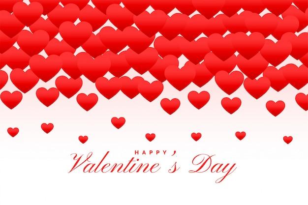 Piękne Czerwone Serca Szczęśliwy Walentynki Kartkę Z życzeniami Darmowych Wektorów