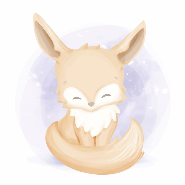 Piękne Dziecko Foxy Akwarela Ilustracja Premium Wektorów