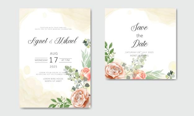 Piękne I Eleganckie Zaproszenia ślubne Z Motywami Kwiatowymi Premium Wektorów