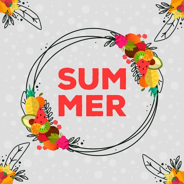 Piękne i kolorowe owoce i letnie elementy Premium Wektorów