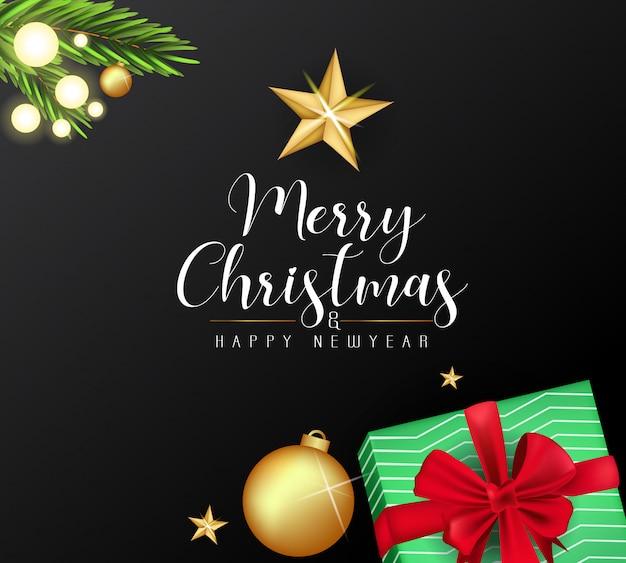 Piękne karty wesołych świąt i nowego roku Premium Wektorów