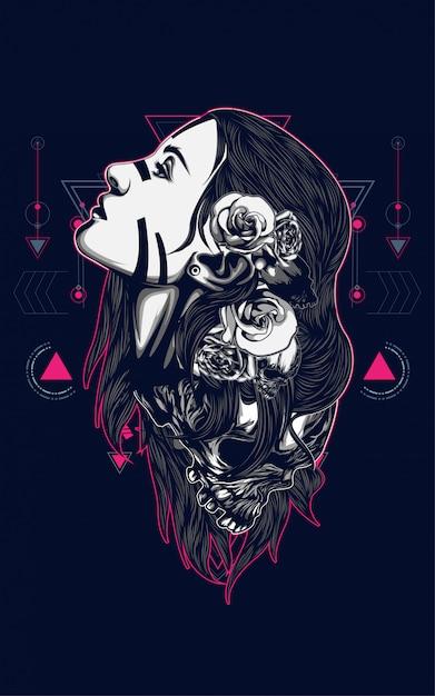 Piękne kobiety z tatuażem Premium Wektorów