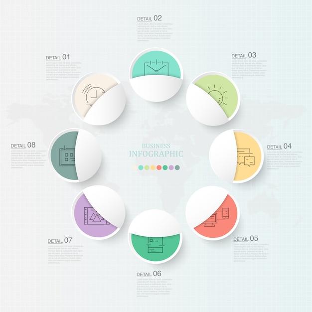 Piękne Koła Infografika 8 Element I Ikony Dla Obecnej Koncepcji Biznesowej. Premium Wektorów