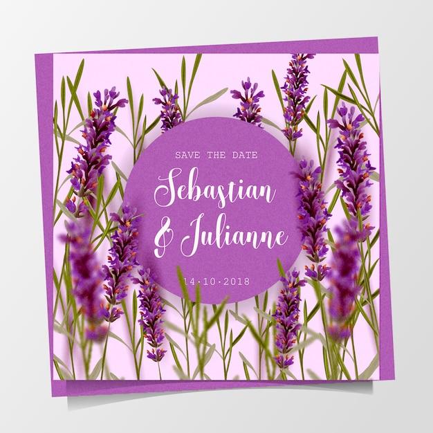 Piękne kwiatowy zaproszenie na ślub Darmowych Wektorów
